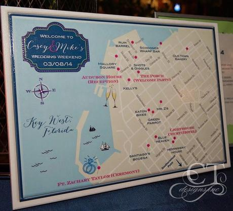 Key West Wedding Welcome Map Turned Display