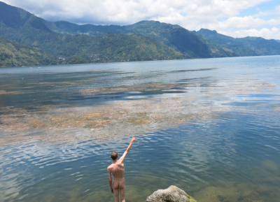 The locals go in naked so I did too at Lago Atitlan by Hotel Mikaso