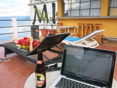 Happy hour Gallo beer on the balcony!