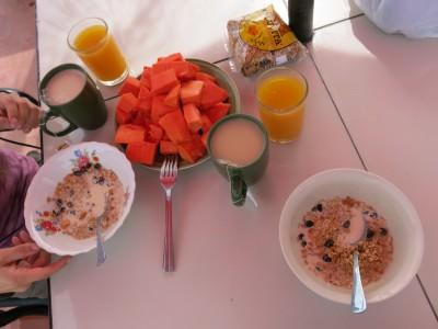 Breakfast we made in the kitchen at Hotel Mikaso.