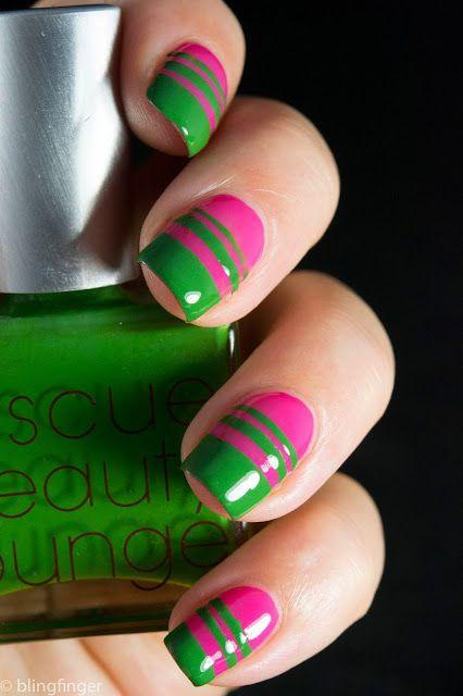 Neon pink and neon green nail art designs paperblog pink and green nail art designs prinsesfo Image collections