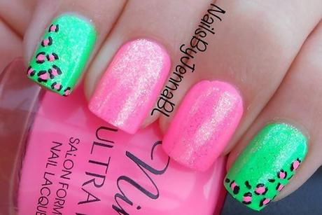 Neon pink and neon green nail art designs paperblog pink and green nail art designs prinsesfo Gallery