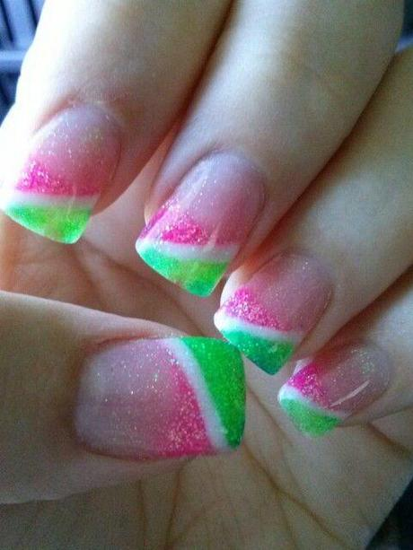 Neon Pink And Neon Green Nail Art Designs Paperblog