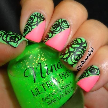 Neon pink and neon green nail art designs paperblog pink and green nail art designs prinsesfo Images