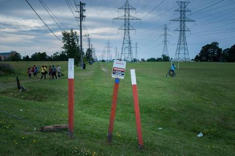 Summer is a busy time along Toronto's Finch Hydro Corridor recreational trail, with soccer tournaments taking place nearly every weekend. Enbridge's Line 9 pipeline runs directly underneath the hydro towers. Photos: Christopher Katsarov Luna, Briarpatch Magazine