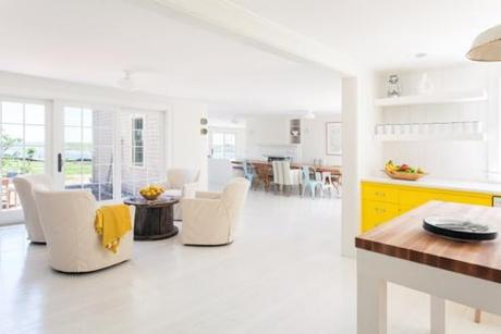 White Living Room WIth Yellow Accents