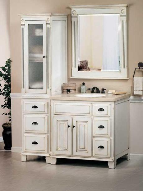 Aged Victorian Vanity with an Off White Finish