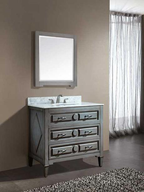 Gray Blue Dovetail Bathroom Cabinet