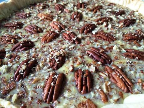 pecans layered across salted caramel filling and pastry base pie recipe