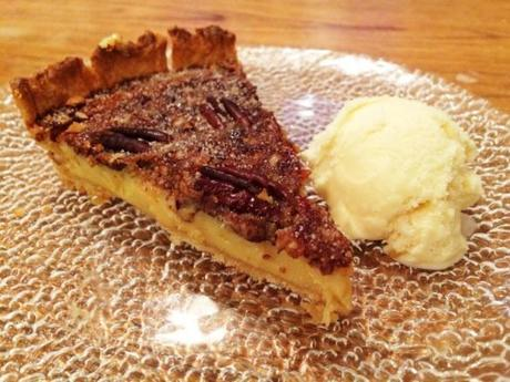 salted caramel pecan pie served warm with vanilla ice cream home recipe