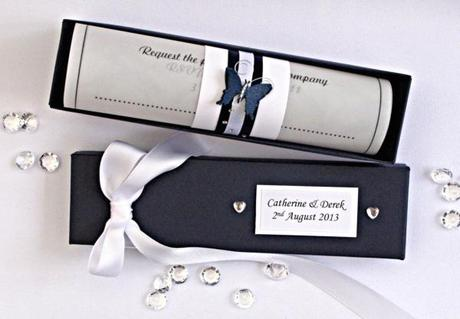 Navy / White. Navy / White Butterfly Wedding Invitation Scroll