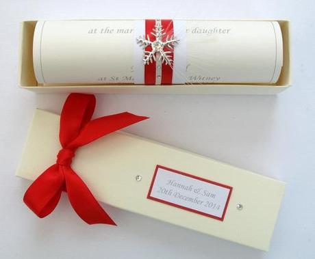 snowflake wedding invitation scroll