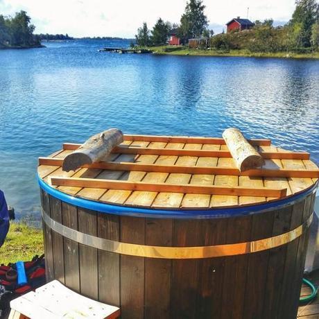 Hot tub overlooking the Kvarken Archipelago in Finland.